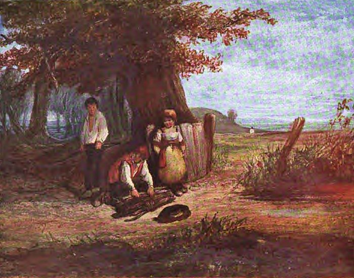 Children gathering sticks by John Nicholas Rhodes