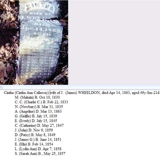 Cinthia Ann Wheeldon grave stone